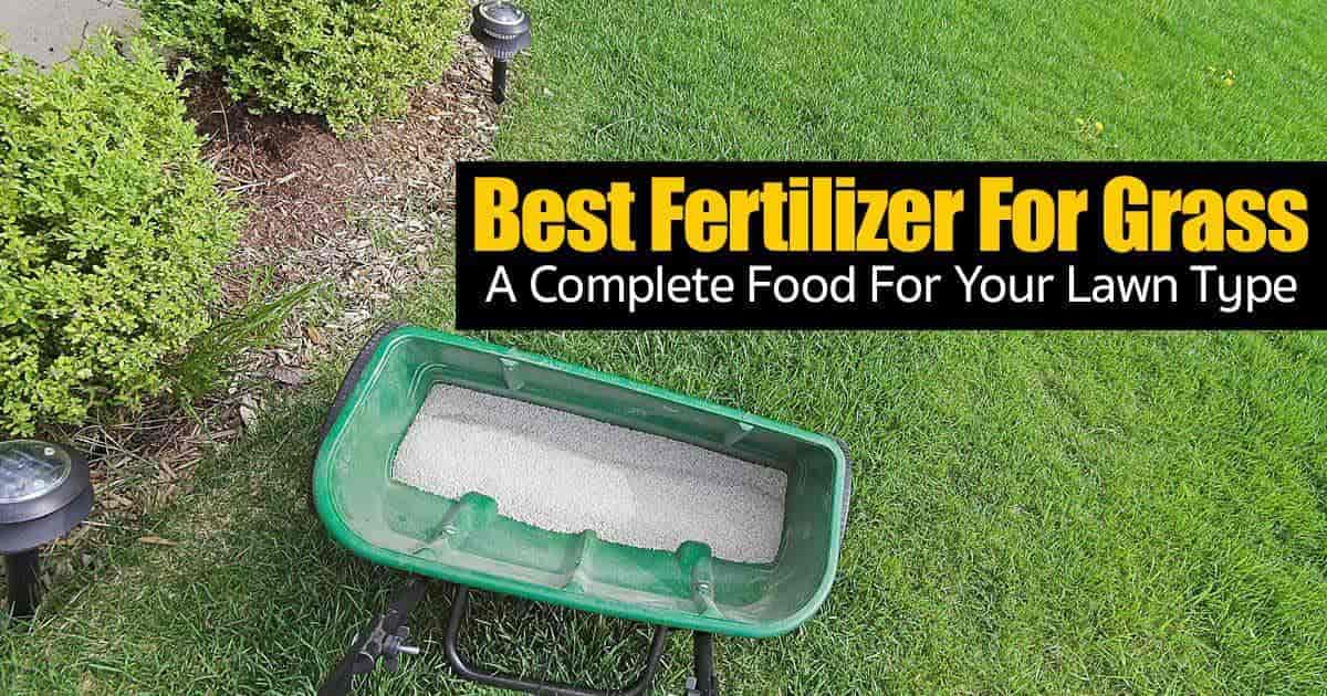 Complete lawn fertilizer in spreader ready to apply